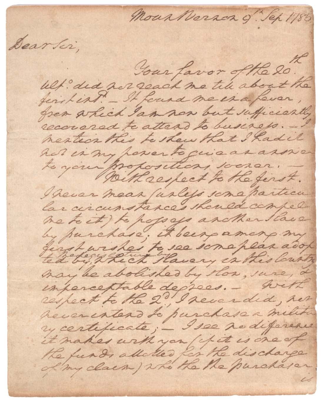 George Washington S Letter About His Slvaes