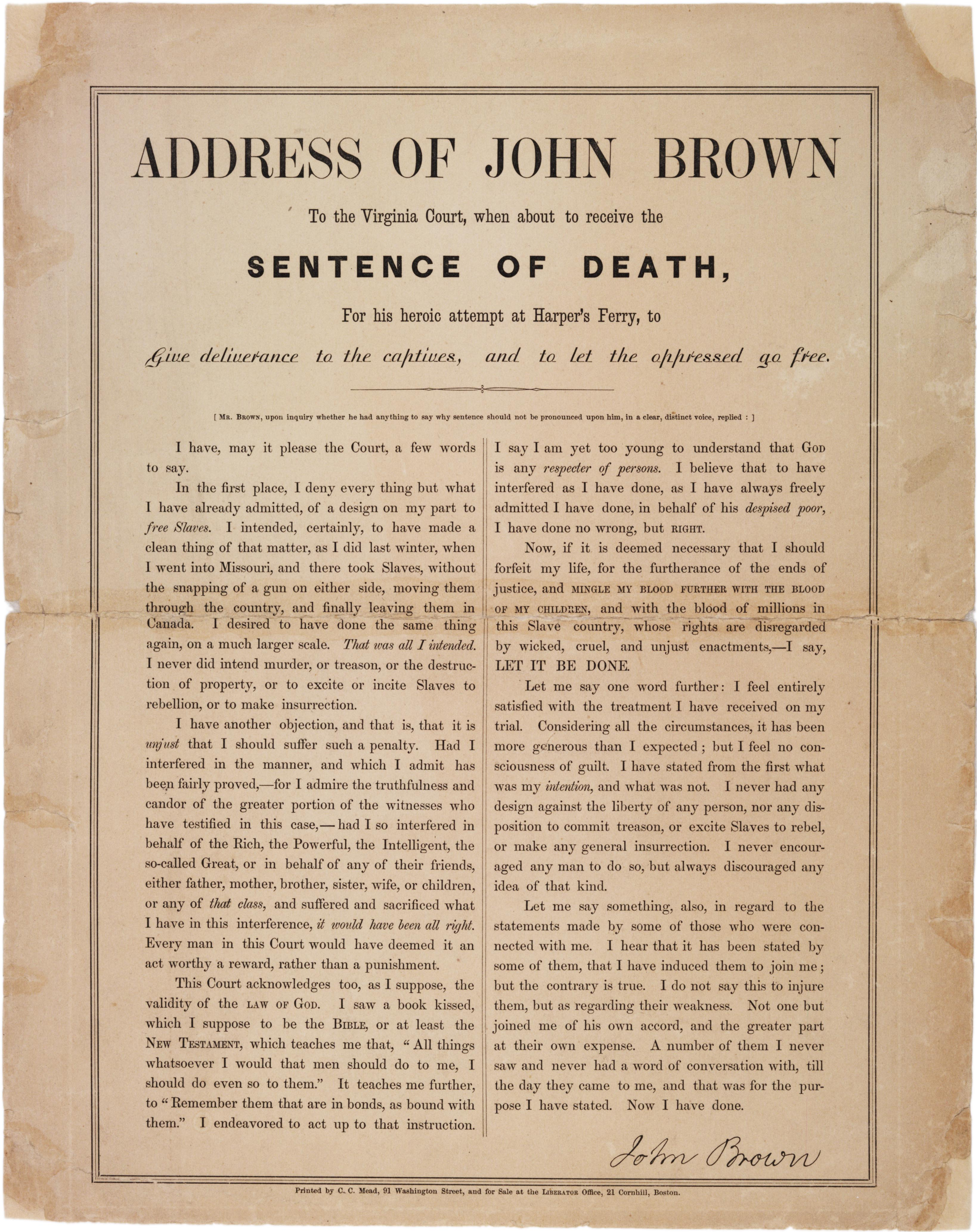 John Brown S Last Letter To His Family
