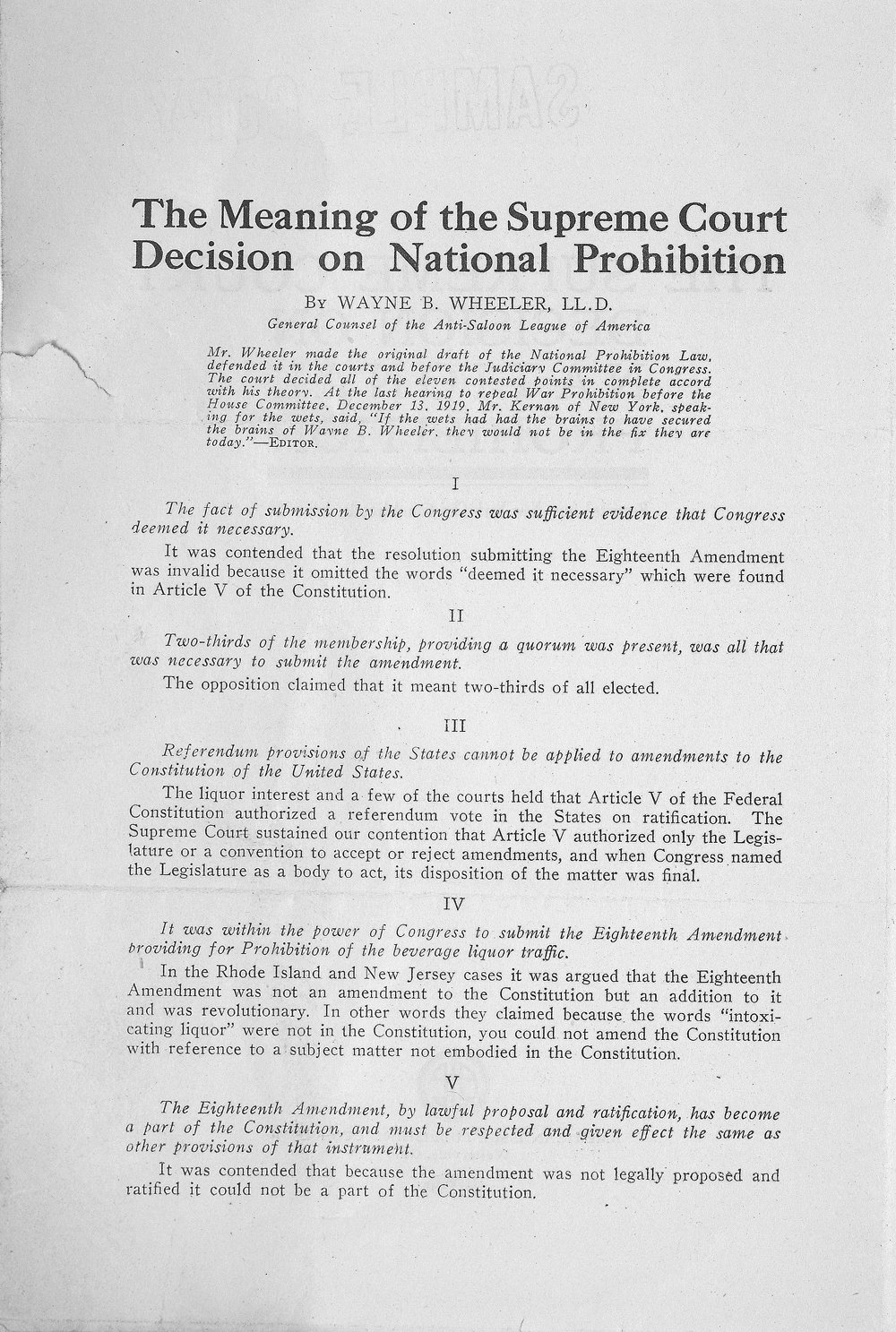 prohibition and the presidency essay Brown ap united states history 10 april 2014 was prohibition a failure due to the progressive and forward-thinking society the 1920s had become, it was.