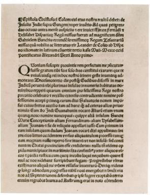 Christopher Columbus's letter to Ferdinand and Isabella, 1493. (GLC01427)