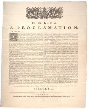 King George III, Proclamation of 1763, 1763. (Gilder Lehrman Collection)