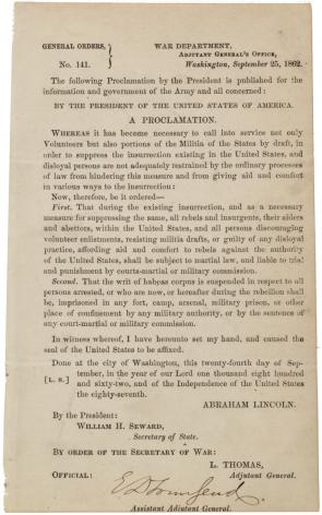 Abraham Lincoln, General Orders No. 141, September 25, 1862 (Gilder Lehrman Collection)