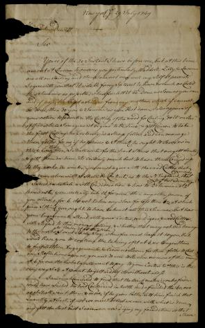 Robert Livingston to Petrus Dewitt, July 29, 1749. (The Gilder Lehrman Institute of American History, GLC03107.04449)