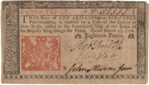 Note of 1 shilling, 6 pence, printed in the colony of New Jersey, 1776. (GLC)