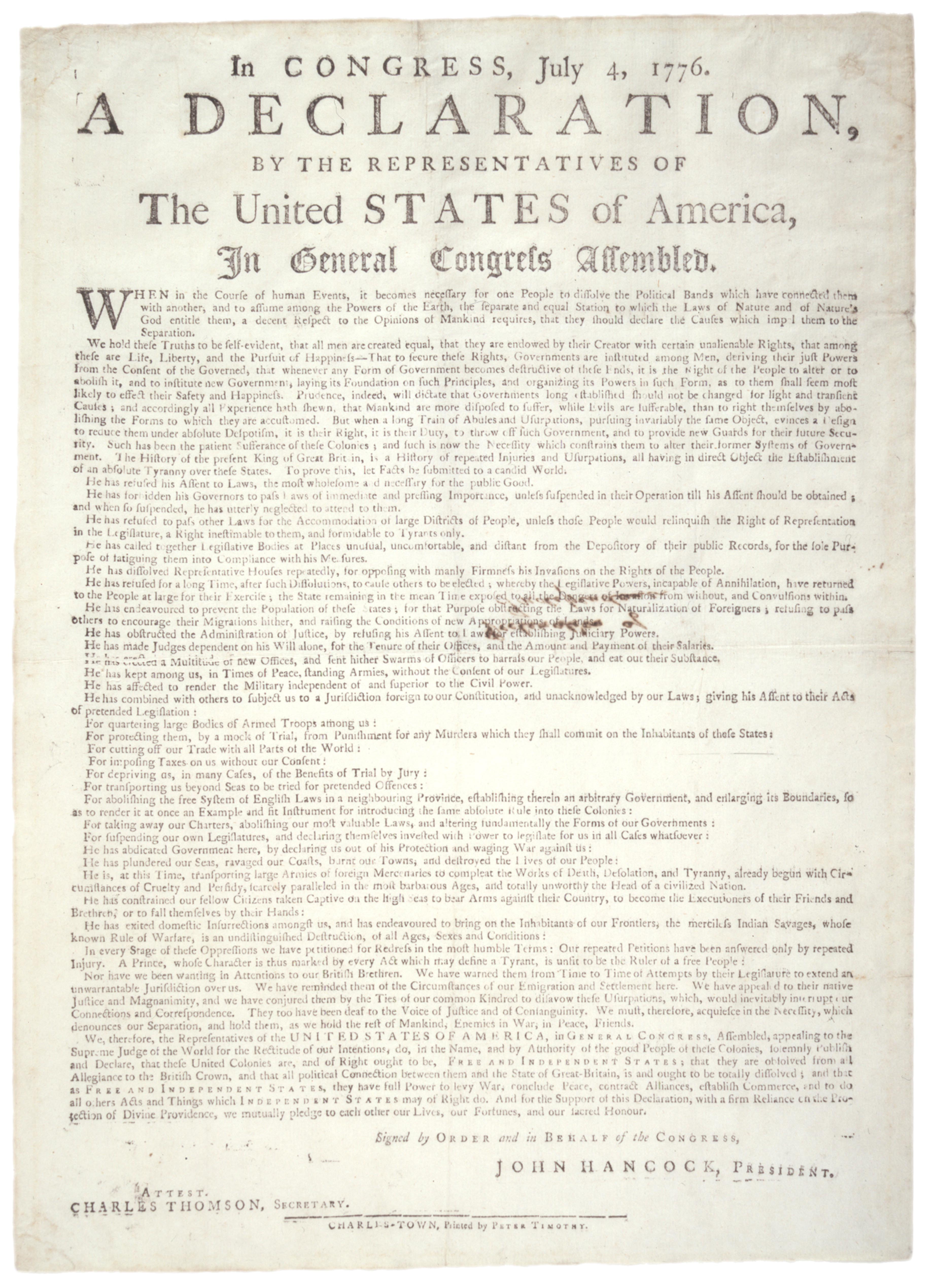 The Declaration of Independence Study Questions