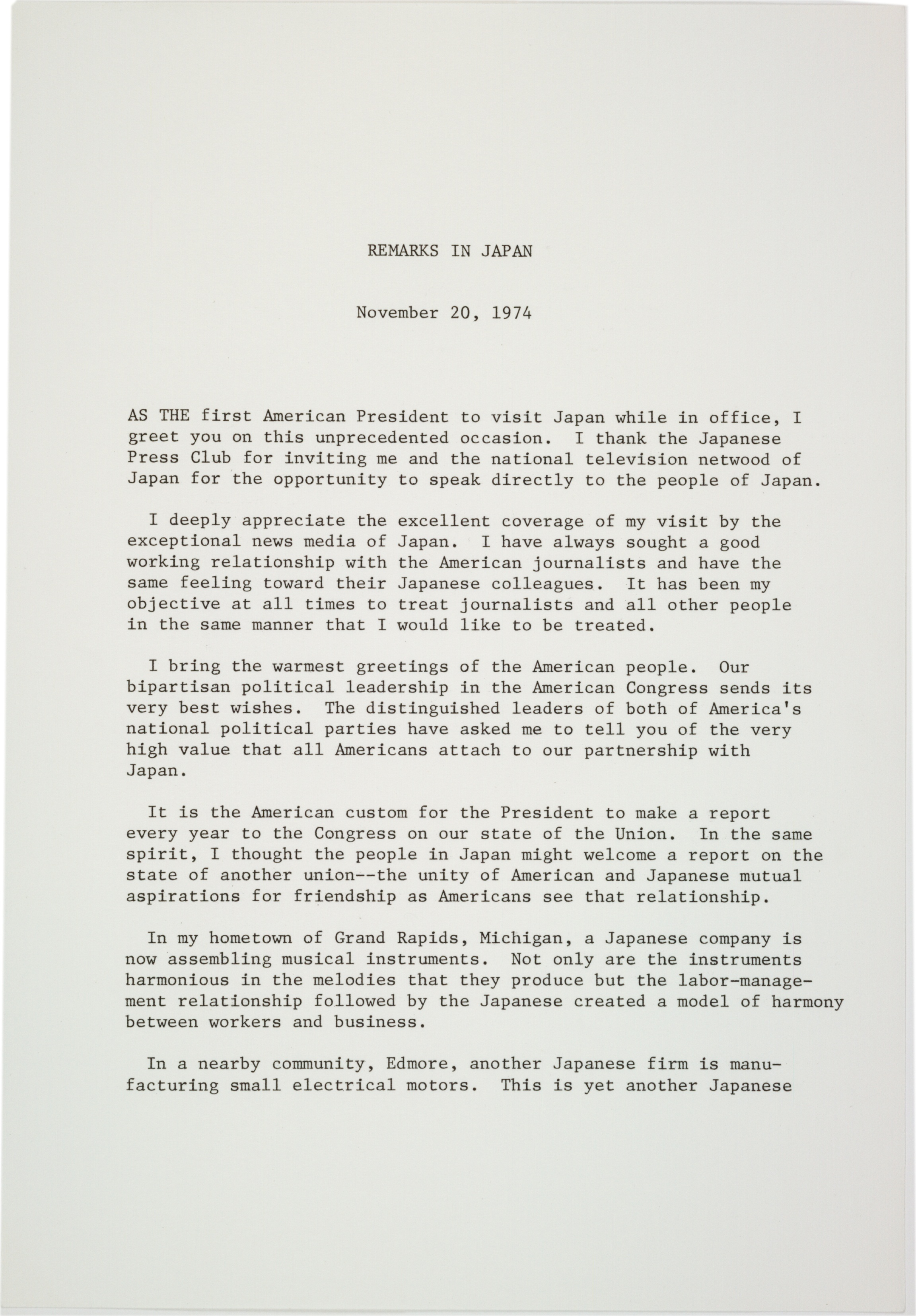 President Fords Remarks In Japan 1974 Ap Us History Study Guide