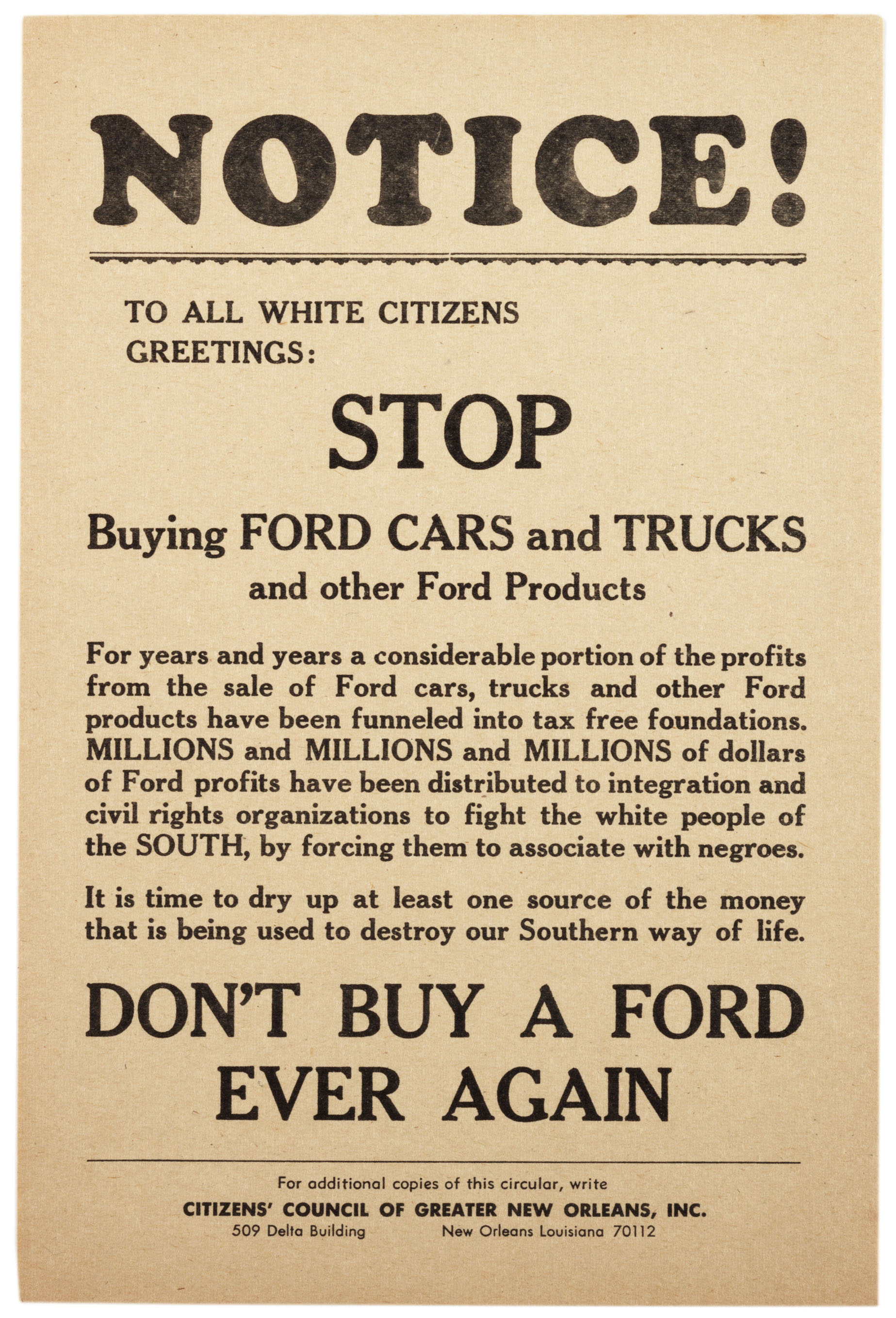 Don't Buy a Ford Ever Again, ca  1960 | AP US History Study Guide