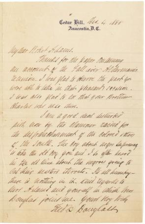 Frederick Douglass to Robert Adams, December 4, 1888. (Gilder Lehrman Collection)